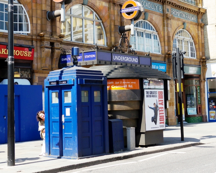 TARDIS parked outside Earls Court Station in London