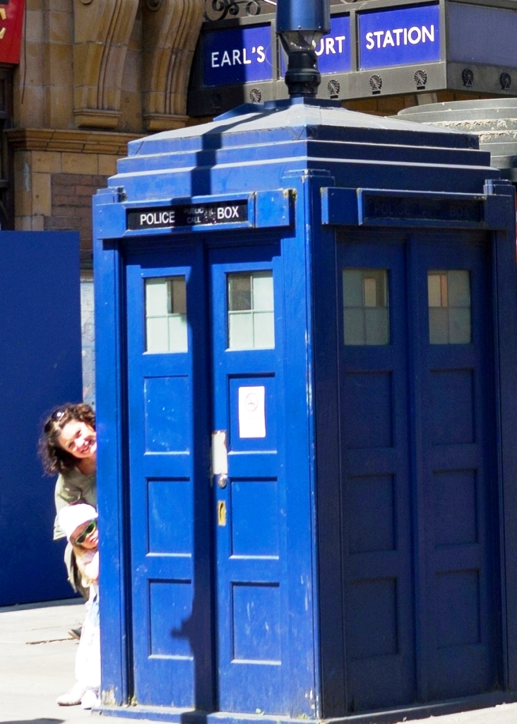 Waiting for the Doctor to return to his TARDIS parked outside Earls Court Station in London