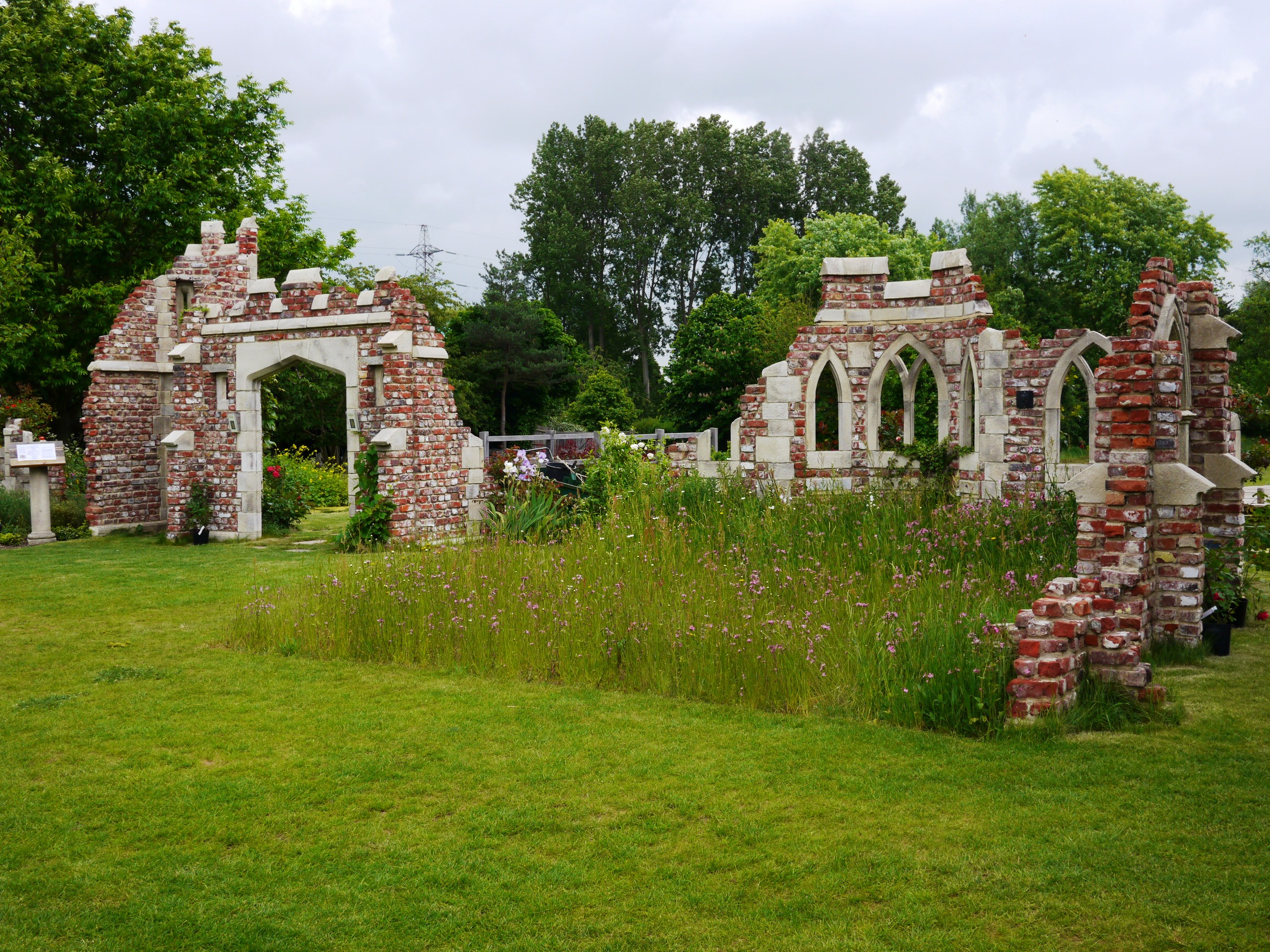 Ruins at Caple Manors Gardens in Enfield UK