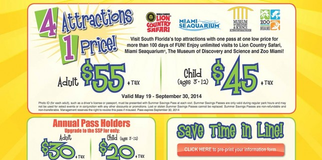 summer savings pass for Lion Country, Museum of Discovery & Science, and Seaquarium
