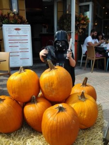 Tiny Vader with Big Pumpkins
