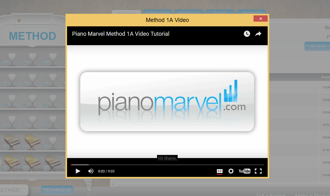 Most Lessons on Piano Marvel have a video to introduce new skills.